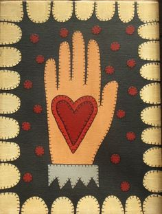 penny rug painting #felted wool #heart in hand