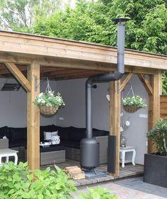 Luxury veranda with wood burner Back Gardens, Outdoor Gardens, Outdoor Rooms, Outdoor Living, Outdoor Patios, Outdoor Kitchens, Outdoor Privacy, Parrilla Exterior, Pavillion
