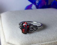 SPARKLING red fire over dark base black natural Opal silver ring with AAA+ quality genuine black Opal 9x7mm.1 Ct, GORGEOUS Red orange fire