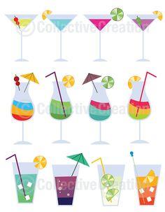 Colorful Cocktails Digital Clip Art Clipart Set | CollectiveCreation via Etsy