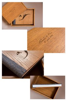 Pamela&Nico - Cover: Brown Oak Wood (with personalized logo created with a laser incision) - Back and spine: Brown and Blue Interwoven - Box: Brown Oak Wood. Album created by Graphistudio for Paolo Bernardotti Studio. Wedding Albums, Wedding Book, Our Wedding, Italian Luxury Brands, Book Binding, Inspiration Boards, Wood Boxes, Notebook, Cover