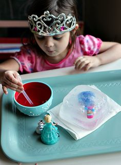 So cool - freeze and thaw Anna a Frozen themed science experiment for preschool