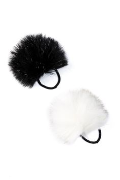 Faux Fur Pompom Hair Elastics - Pack of 2