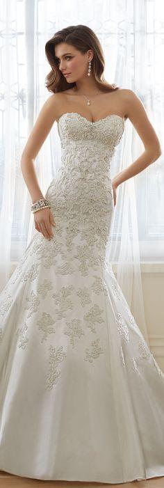The Sophia Tolli Spring 2016 Wedding Dress Collection - Style No. Y11636 - Reine #satinandlaceweddingdress