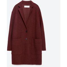 Zara Wool Coat (500 ILS) ❤ liked on Polyvore featuring outerwear, coats, jackets, veste, burgundy, woolen coat, zara coat, red coat, burgundy coat and wool coat