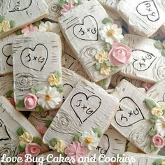 """1,304 Likes, 52 Comments - Beth Bougie (@lovebugcookies) on Instagram: """"Lots of birch bark Cookies! I'll be teaching this technique in my Fall Wedding Class in September!…"""""""