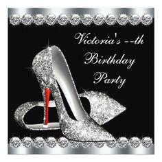 Womans Elegant Black Birthday Party Card