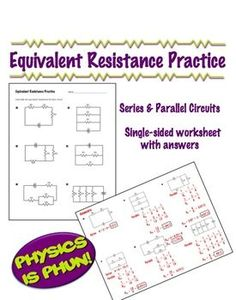Physics - Equivalent Resistance Practice - 1 page worksheet FREE!