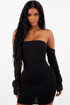 042b48ebce2 Sorella Mesh Sleeve Mini Dress - Black