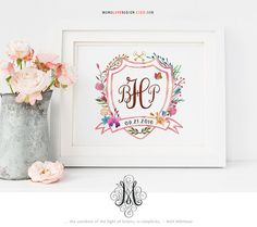 Watercolor Floral Wedding Monogram Logo Design Family Crest Logo Nursery Art Calligraphy Art Personal Monogram Name Art Watercolor Wall Art