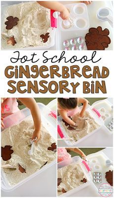This gingerbread scented sensory bin smells oh so good you wont mind the mess! Perfect for tot school, preschool, or kindergarten!