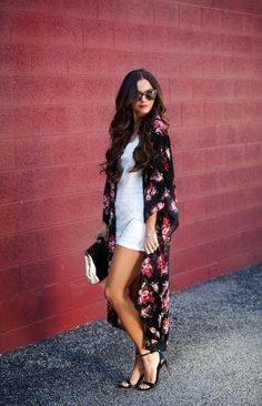 Very elegant in this long floral kimono over a short white dress x