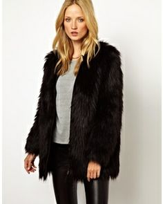 SELECTED Sierra Faux Fur Coat with Leather Detail