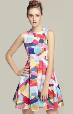 Colorful Sleevelss Brushwork Dress
