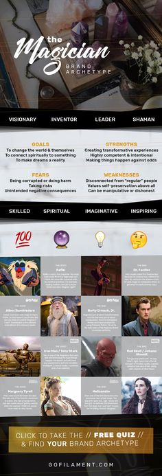 The Magician // Brand Archetypes // The Magician is also called the Visionary, Inventor, Leader, Spiritualist, Scientist, or Shaman. Magician brands strive to triumph & change the world by promoting knowledge & power. They're usually known for showing transformation, inspiration, imagination, vision, and spirituality, so their customers always feel like they transform through the brand. // Find your Brand Archetype now at gofilament.com/what-the-eff-is-a-brand-archetype