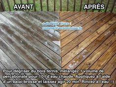 Le bois peut devenir gris en vieillissant si on n'en prend pas assez soin. Vous cherchez une astuce pour raviver sa couleur d'origine et le dégriser ? L'astuce est de le nettoyer avec du percarbonate de soude et de l'eau. Découvrez l'astuce ici : http://www.comment-economiser.fr/astuce-degriser-bois-terni-par-temps.html?utm_content=buffer76d53&utm_medium=social&utm_source=pinterest.com&utm_campaign=buffer