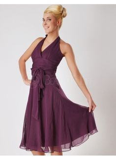 Awesome Halter Knee-length Grape Bridesmaid Dress - or in lavendar or silver