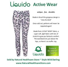 Liquido Activewear. Wild Darling Patterned Hot Pants. unique. fun. durable. one-of-a-kind. limited edition prints.  http://www.naturalhealthcarestore.com/