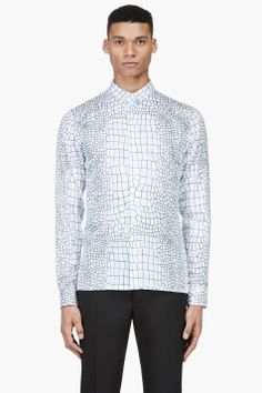KRISVANASSCHE SSENSE EXCLUSIVE White All-Over Crocodile Print Shirt