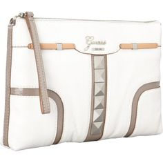 #GUESS Gladis #Clutch (White Multi) #christmas #shopping #online Top zip closure Inside features back wall zip pocket and three front wall multipurpose slip pockets Shiny silver hardware
