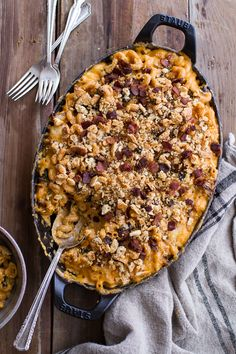 Butternut Squash + Brussels Sprouts in Mac n' Cheese with Buttery Bacon Ritz Crackers - sounds like it's full of flavor!
