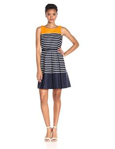 Taylor Dresses Women's Solid and Stripes Fit-and-Flare Dress