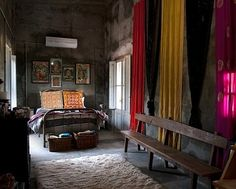 Dark bedroom, but not gloomy.