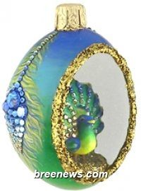 Petit Egg, Peek, Peacock Feathers, Patricia Breen Designs (Blue, Green, Spring, Easter)