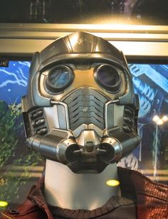 Hollywood Movie Costumes and Props: Chris Pratt's Star-Lord costume from Guardians of the Galaxy on display... Original film costumes and props on display