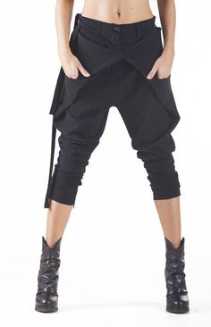 Excited to share this item from my shop: Black Capri Pants / Paradox / Ladies Harem Pants / Asymmetric Pants / Fashion Pants / Drop Crotch Pants / Casual Pants / Fashion Pants, Look Fashion, Urban Fashion, Sneakers Fashion, Autumn Fashion, Fashion Outfits, Sneakers Sale, Fashion Clothes, Fashion Sandals