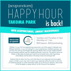 You asked and we listened! Acupuncture Happy Hour is back with Lindsay MacDougall on Tuesdays and Thursdays at 3pm and Saturdays at 11am. AND, if you pre-book, you save $10! Click here to pre-book: http://clients.mindbodyonline.com/ws.asp?studioid=2496&stype=-103&sLoc=0
