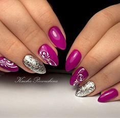 100 Beautiful Purple Nail Art Designs and Trendy Colors 2018 Purple Nail Art, Silver Nail Art, Pink Nails, Glitter Nails, Classy Nails, Trendy Nails, Cute Nails, Nail Art Arabesque, Gel Nail Designs