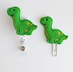 Brontosaurus Dinosaur Felt Paperclip | Badge Reel | ID Badge | Felt Badge | Badge Holder | Lanyard | Planner Clip | Planner Accessories