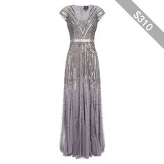 Adrianna Papell Cap Sleeve Long Sequin Dress, Silver/Grey