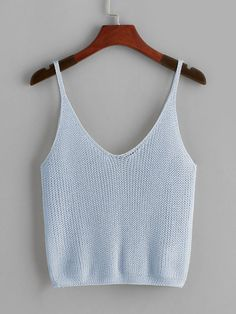 Casual Cami Plain Regular Fit V neck Blue Crop Length Eyelet Solid Crop Top Cropped Tops, Summer Knitting, Summer Tops, Crochet Clothes, Pulls, Fashion News, Knitwear, Knitting Patterns, Knit Crochet