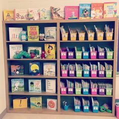 Classroom Library Blooming in First Grade Library Organization, Classroom Organisation, Classroom Displays, Classroom Themes, Classroom Management, Future Classroom, Classroom Libraries, Classroom Layout, Classroom Mailboxes