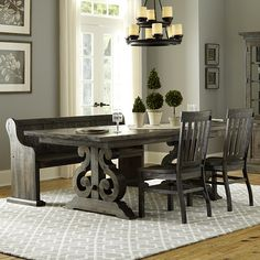Magnussen Home Bellamy 4 Pc Dining Set - Item Number: D2491-20+2X60+79