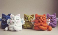 Cute Needle felted project wool animals cats kittens(Via @yanaestrina):