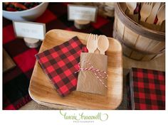 Little Lumberjack Party napkins, wood utensils, wood grain utensil sleeves. For more photos and ideas go to http://www.lauriebracewellphotography.com/little-lumberjack-1st-birthday-party/