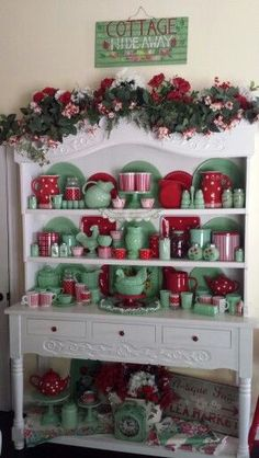 Red accessories added to a jade ware collection for Christmas.