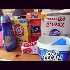 I found a recipe for homemade laundry detergent.   1 (4 lb 12 oz) Box of Borax- Found in the detergent aisle   1 (3 lb 7 oz) Box of Arm & Hammer Super Washing Soda- Found in the detergent aisle  1 (3 lb) Container of OxyClean- Found in the detergent aisle.  2 (14.1 oz) Bars of Zote Soap- Supposedly found in the detergent isle, but I had to go to Home Depot to find mine.  1 (4 lb) Box of Arm & Hammer Baking Soda- Found in the cooking aisle  1-2 (55 oz) Bottle of Purex Crystals Fabric Softener