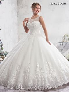 df5b947e23 MB6010 - Tulle ball gown features beaded scoop neck