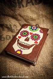 A5 size Leather bound 'Sugar Skull' journal  220 leaves of 100gsm plain white paper.  £50.00 plus p  Please e-mail me at blackorchardbooks@hotmail.co.uk for all orders and enquiries   www.theblackorchard.com