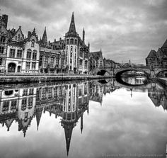 Graslei region Ghent waterways reflections 3