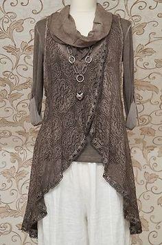 Stunning Chocolate Brown 2piece Tunic Dress Italian Lagenlook Layering Top OSFA | eBay: