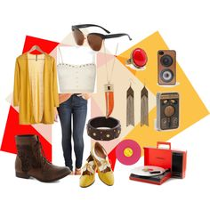"""""""Time is on my side...""""-by nici898 on Polyvore Modcloth brand: Banana-glams Cardigan, Dittos Everyday Adventure Jeans, Chelsea Crew Summon Success Flat in Marigold, Walk on the Wildflower Side Boot, Ode to Home Bracelet, Hollywood Thrills Sunglasses, Needle in a Play-stack Turntable. Other brands: Full Tilt Stud Trim Bralette, CC Skye Glamour Horn Necklace,Mango Stone Ring, Warehouse Engraved Tassel Drop Earring,Camera iPhone 3-4S Case,Wooden Earbuds, Rolling Stones Miss You: Pink Vinyl"""