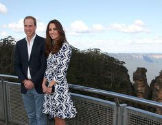 17 APRIL 2014 ~ Prince William and the Duchess of Cambridge, nee Kate Middleton, took a moment to appreciate some of Australia's stunning scenery as they visited The Three Sisters on Thursday afternoon.