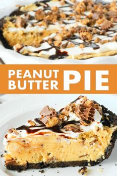 Easy No-Bake Peanut Butter Pie with an Oreo Crust and a sprinkle of Reece's throughout the filling is the perfect peanut butter dessert for feeding a crowd! #peanutbutter #dessert #pierecipes #nobakepie #pie #reeces #oreocrust