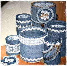 How to make organizer from old jeans - Crazzy Craft Tin Can Crafts, Jean Crafts, Denim Crafts, Diy Home Crafts, Arts And Crafts, Recycled Denim, Recycled Crafts, Tin Can Art, Recycle Cans