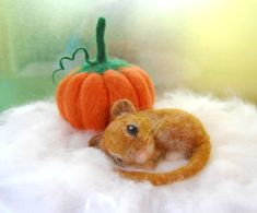 Needle Felted Mouse With Felted Pumpkin. Autumn by ElisaShine
